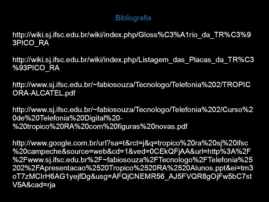 Bibliografia http://wiki.sj.ifsc.edu.br/wiki/index.php/Gloss%C3%A1rio_da_TR%C3%9 3PICO_RA http://wiki.sj.ifsc.edu.br/wiki/index.php/Listagem_das_Placa