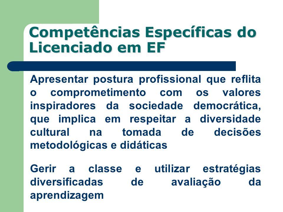 Competências Específicas do Licenciado em EF Apresentar postura profissional que reflita o comprometimento com os valores inspiradores da sociedade de