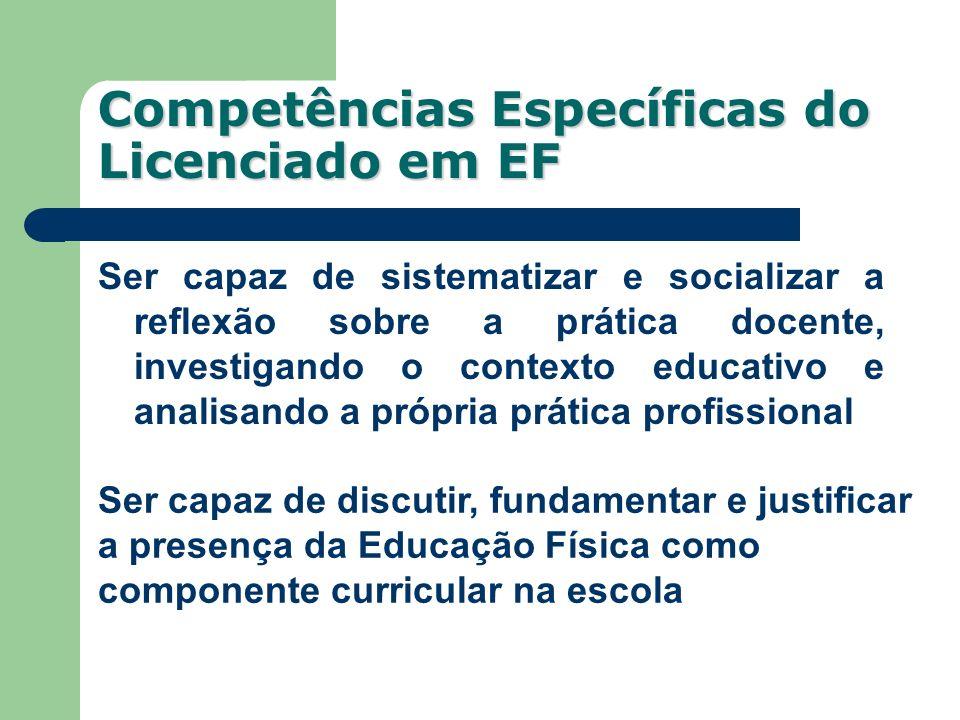 Competências Específicas do Licenciado em EF Ser capaz de sistematizar e socializar a reflexão sobre a prática docente, investigando o contexto educat