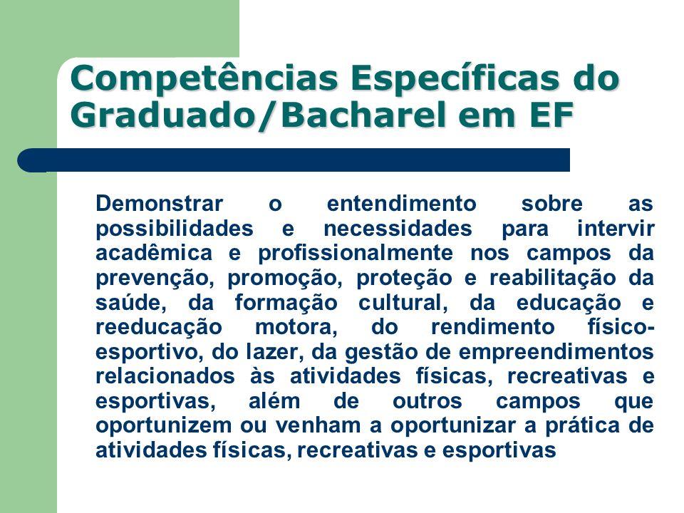 Competências Específicas do Graduado/Bacharel em EF Demonstrar o entendimento sobre as possibilidades e necessidades para intervir acadêmica e profiss