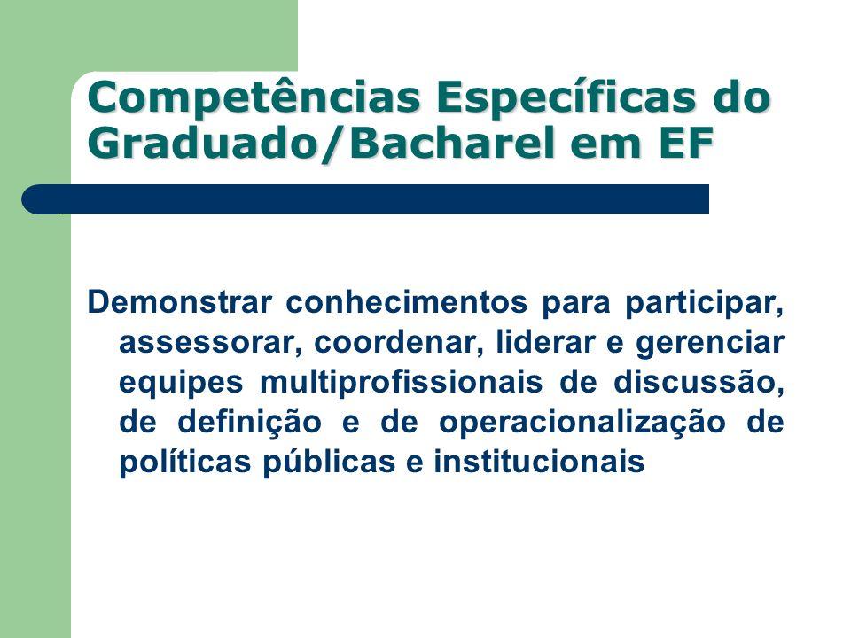 Competências Específicas do Graduado/Bacharel em EF Demonstrar conhecimentos para participar, assessorar, coordenar, liderar e gerenciar equipes multi