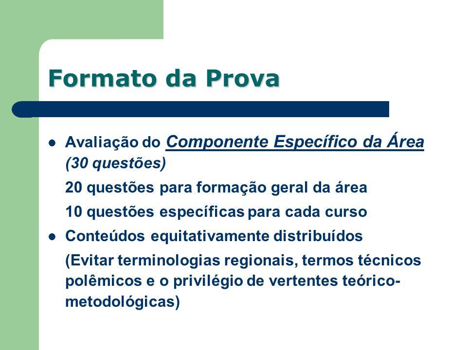 Avaliação do Componente Específico da Área (30 questões) 20 questões para formação geral da área 10 questões específicas para cada curso Conteúdos equ