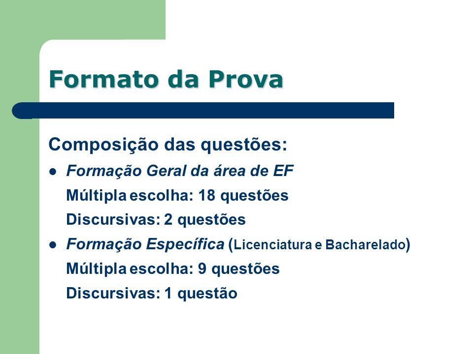 Composição das questões: Formação Geral da área de EF Múltipla escolha: 18 questões Discursivas: 2 questões Formação Específica ( Licenciatura e Bacha