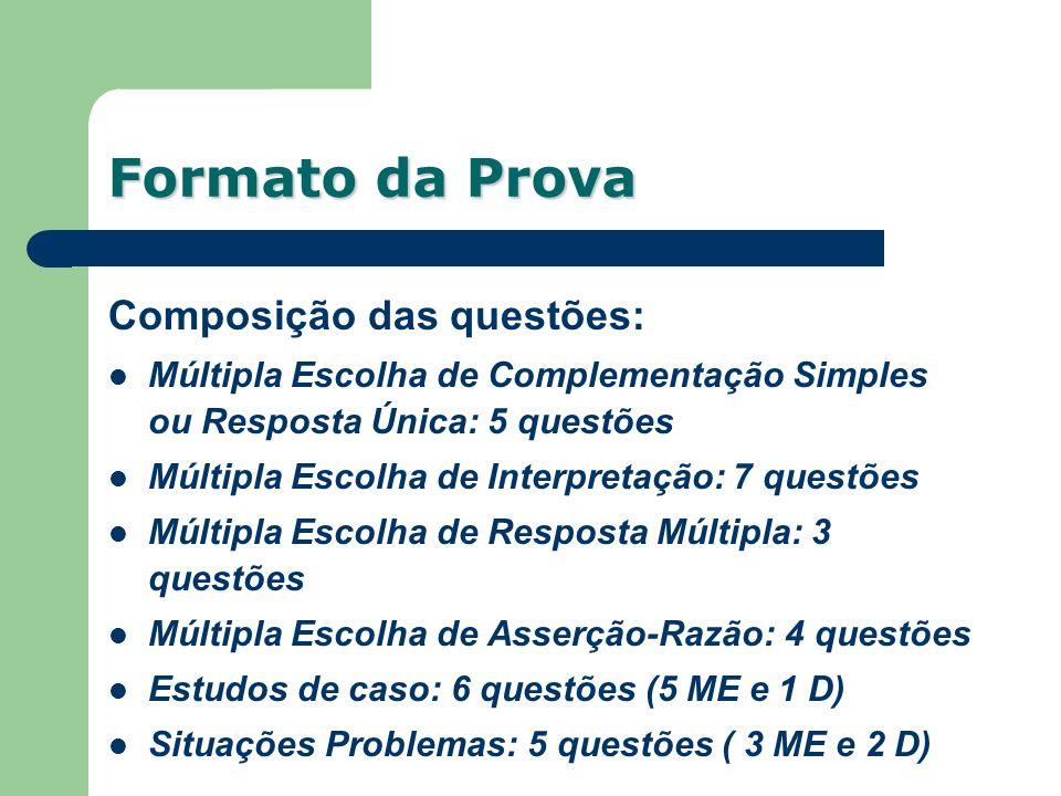 Composição das questões: Múltipla Escolha de Complementação Simples ou Resposta Única: 5 questões Múltipla Escolha de Interpretação: 7 questões Múltip