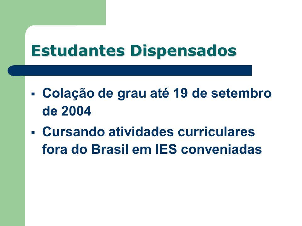 Colação de grau até 19 de setembro de 2004 Cursando atividades curriculares fora do Brasil em IES conveniadas Estudantes Dispensados