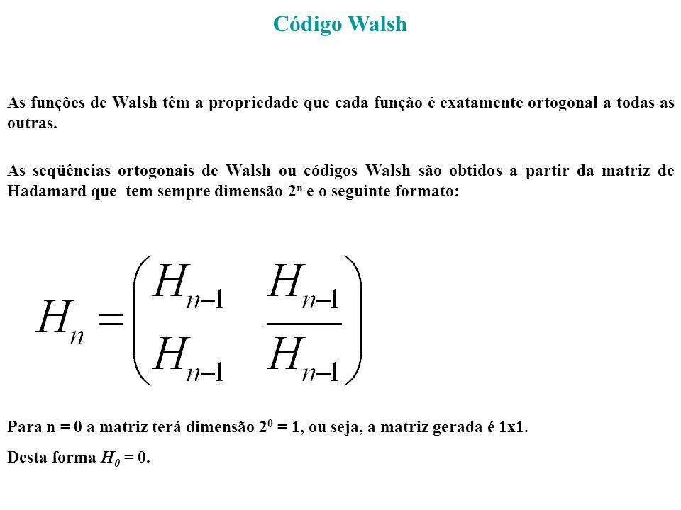 Código Walsh As funções de Walsh têm a propriedade que cada função é exatamente ortogonal a todas as outras. As seqüências ortogonais de Walsh ou códi