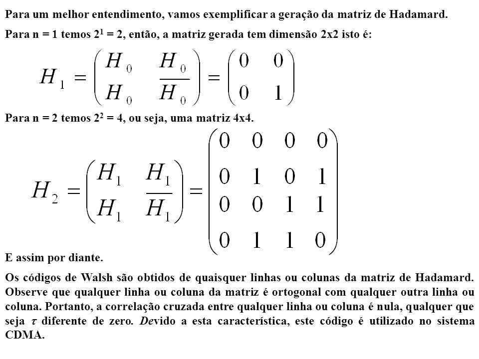 Para um melhor entendimento, vamos exemplificar a geração da matriz de Hadamard. Para n = 1 temos 2 1 = 2, então, a matriz gerada tem dimensão 2x2 ist