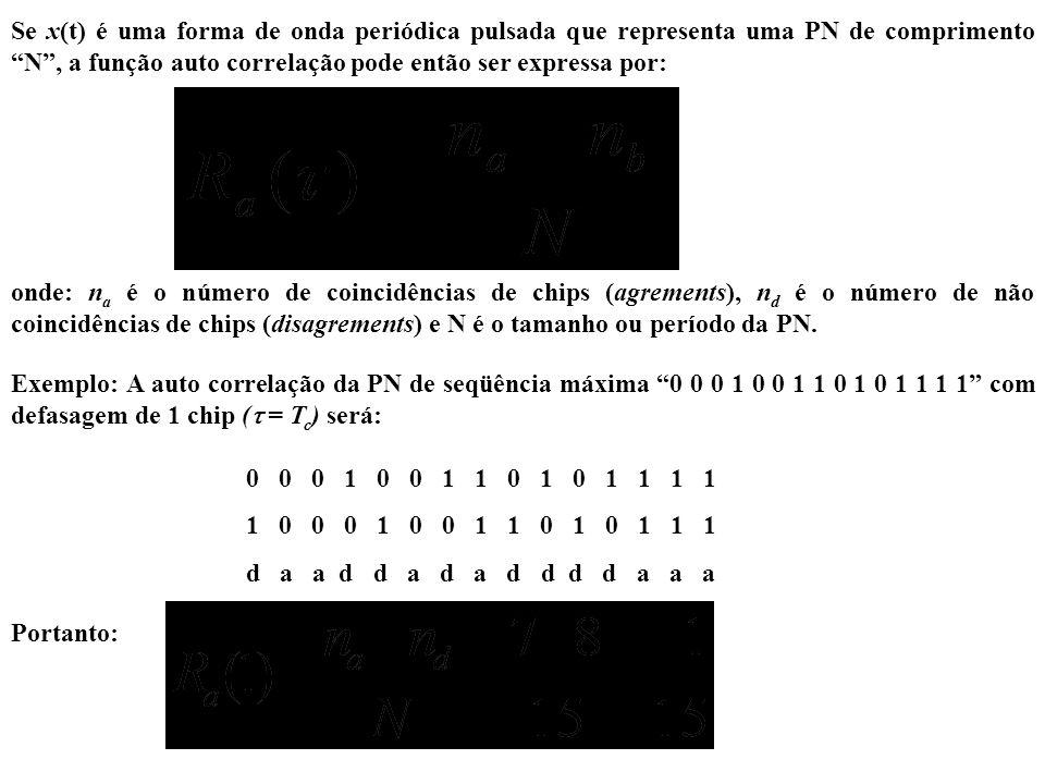 Se x(t) é uma forma de onda periódica pulsada que representa uma PN de comprimento N, a função auto correlação pode então ser expressa por: onde: n a