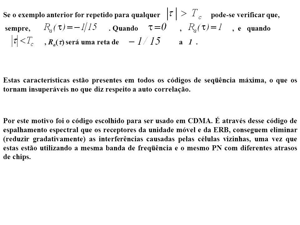 Se o exemplo anterior for repetido para qualquer pode-se verificar que, sempre,. Quando,, e quando, R a ( ) será uma reta de a 1. Estas característica