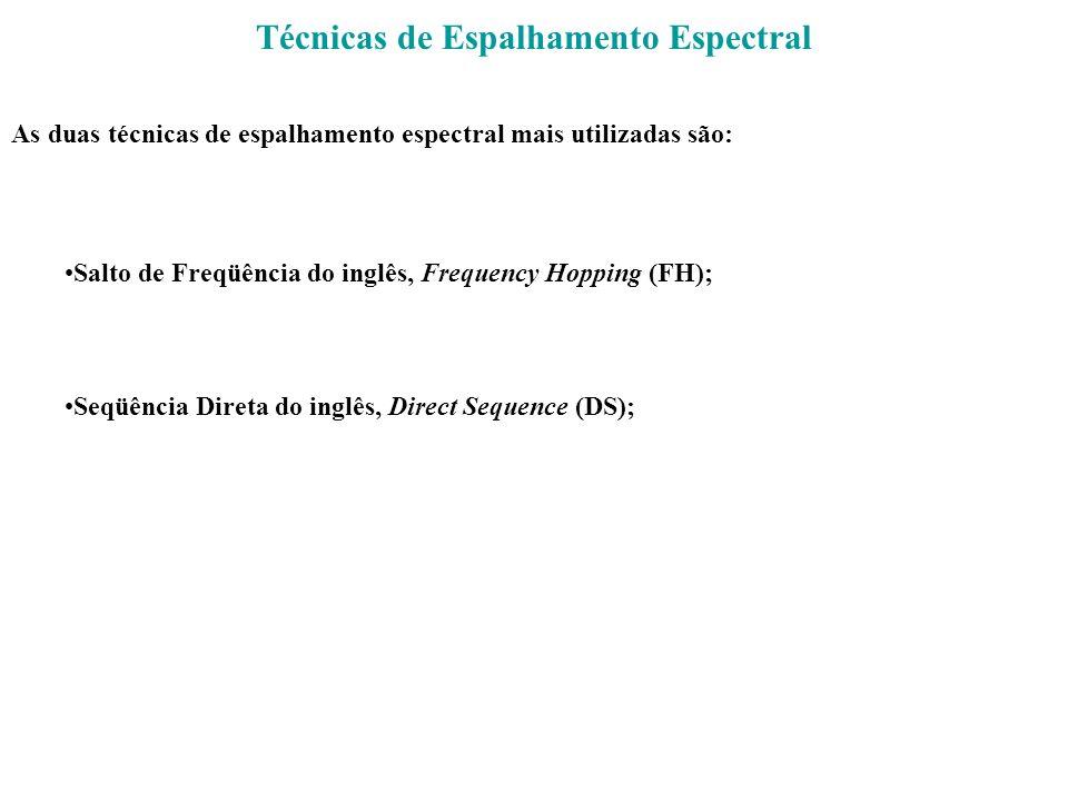Técnicas de Espalhamento Espectral As duas técnicas de espalhamento espectral mais utilizadas são: Salto de Freqüência do inglês, Frequency Hopping (F