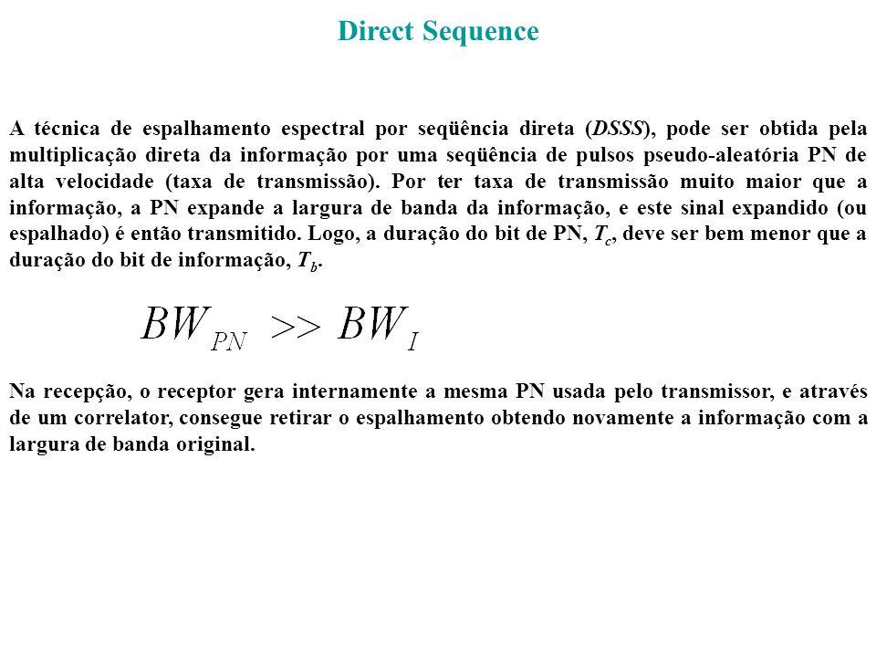 Direct Sequence A técnica de espalhamento espectral por seqüência direta (DSSS), pode ser obtida pela multiplicação direta da informação por uma seqüê