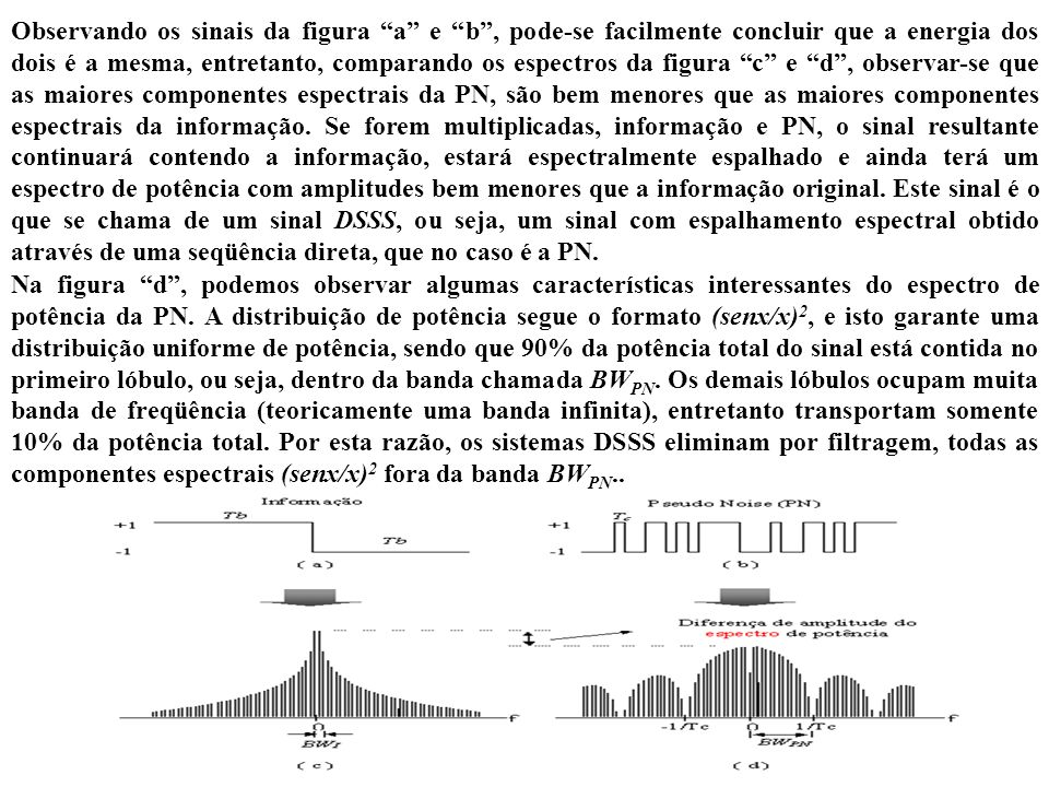 Observando os sinais da figura a e b, pode-se facilmente concluir que a energia dos dois é a mesma, entretanto, comparando os espectros da figura c e