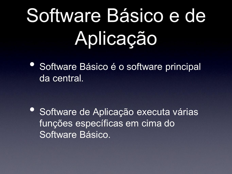 Software Básico e de Aplicação Software Básico é o software principal da central. Software de Aplicação executa várias funções específicas em cima do