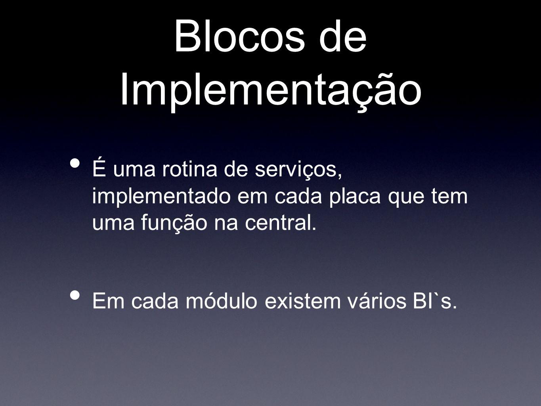 Blocos de Implementação É uma rotina de serviços, implementado em cada placa que tem uma função na central. Em cada módulo existem vários BI`s.