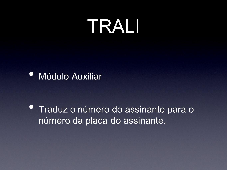 TRALI Módulo Auxiliar Traduz o número do assinante para o número da placa do assinante.