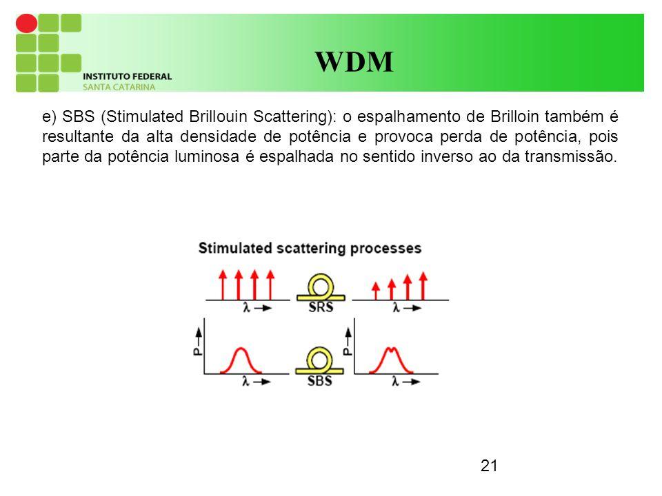 21 WDM e) SBS (Stimulated Brillouin Scattering): o espalhamento de Brilloin também é resultante da alta densidade de potência e provoca perda de potência, pois parte da potência luminosa é espalhada no sentido inverso ao da transmissão.