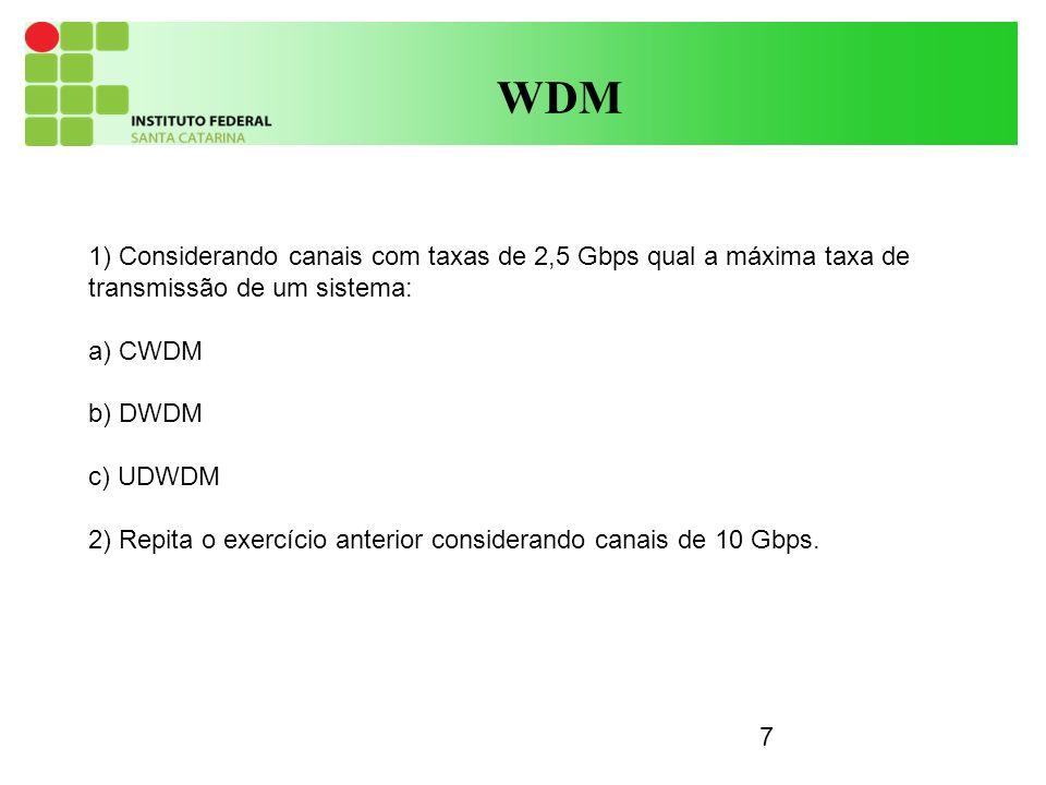 7 WDM 1) Considerando canais com taxas de 2,5 Gbps qual a máxima taxa de transmissão de um sistema: a) CWDM b) DWDM c) UDWDM 2) Repita o exercício anterior considerando canais de 10 Gbps.