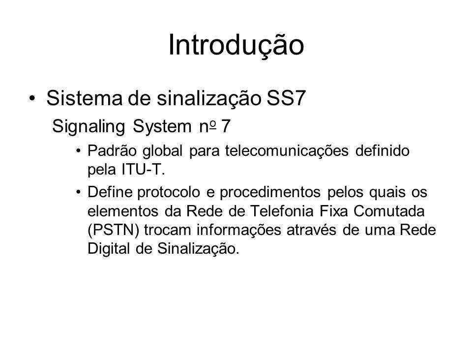 Introdução Sistema de sinalização SS7 Signaling System n o 7 Padrão global para telecomunicações definido pela ITU-T. Define protocolo e procedimentos