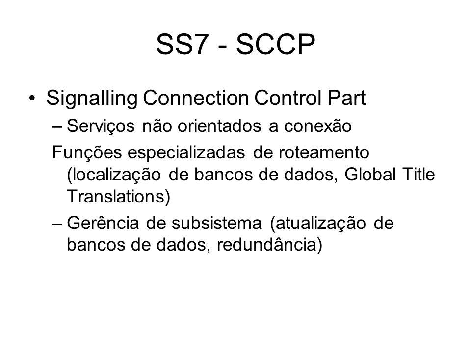 SS7 - SCCP Signalling Connection Control Part –Serviços não orientados a conexão Funções especializadas de roteamento (localização de bancos de dados,