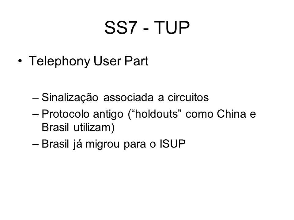 SS7 - TUP Telephony User Part –Sinalização associada a circuitos –Protocolo antigo (holdouts como China e Brasil utilizam) –Brasil já migrou para o IS