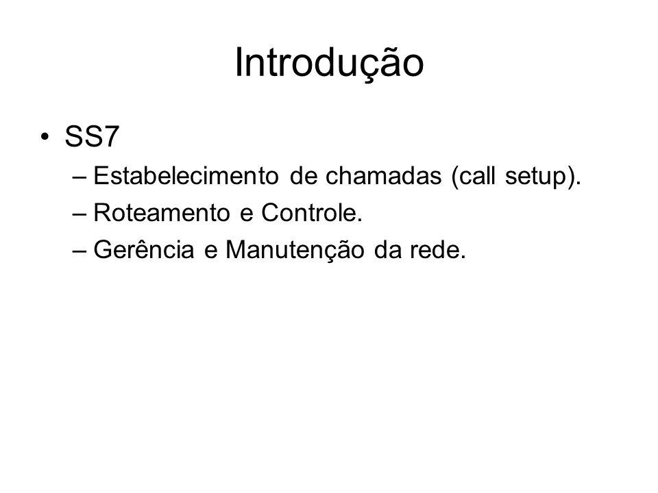 Introdução SS7 –Estabelecimento de chamadas (call setup). –Roteamento e Controle. –Gerência e Manutenção da rede.