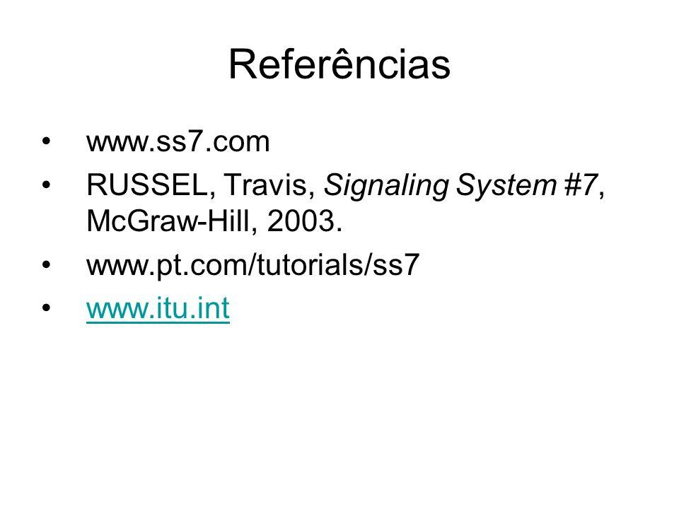 Referências www.ss7.com RUSSEL, Travis, Signaling System #7, McGraw-Hill, 2003. www.pt.com/tutorials/ss7 www.itu.int