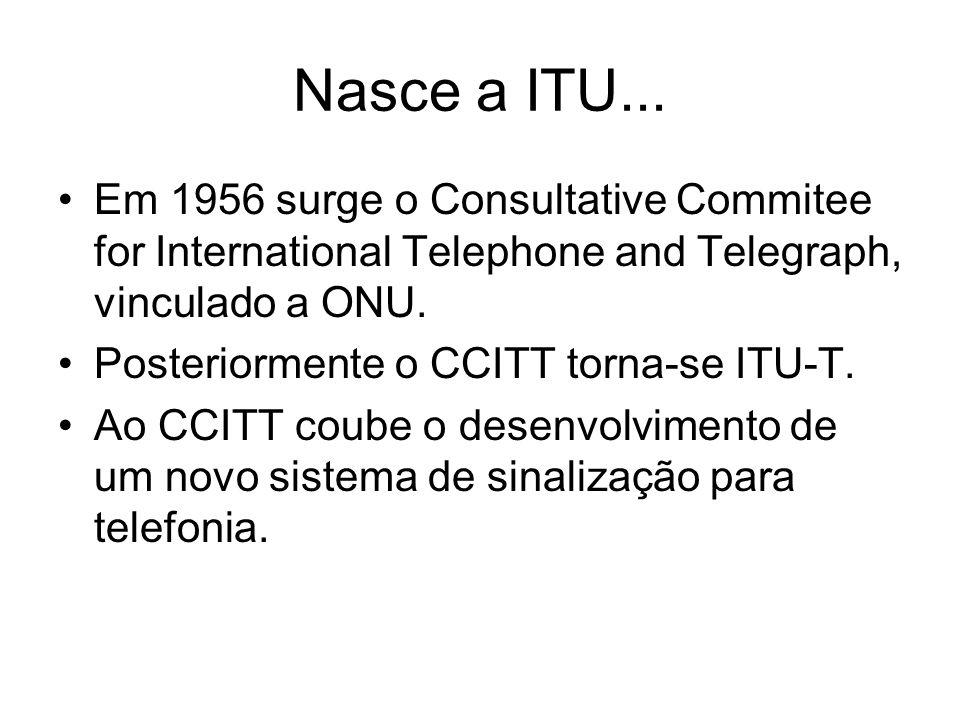 Nasce a ITU... Em 1956 surge o Consultative Commitee for International Telephone and Telegraph, vinculado a ONU. Posteriormente o CCITT torna-se ITU-T