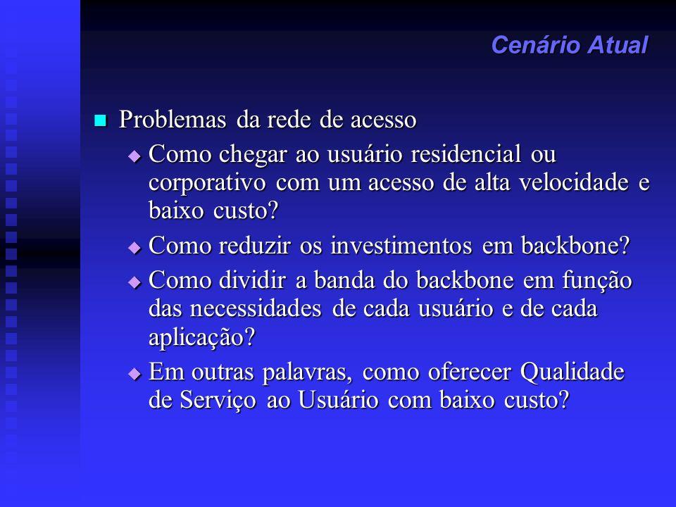 Problemas da rede de acesso Problemas da rede de acesso Como chegar ao usuário residencial ou corporativo com um acesso de alta velocidade e baixo cus