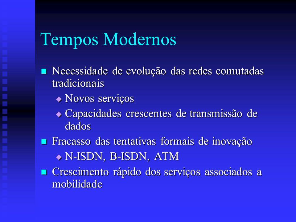Tempos Modernos Necessidade de evolução das redes comutadas tradicionais Necessidade de evolução das redes comutadas tradicionais Novos serviços Novos