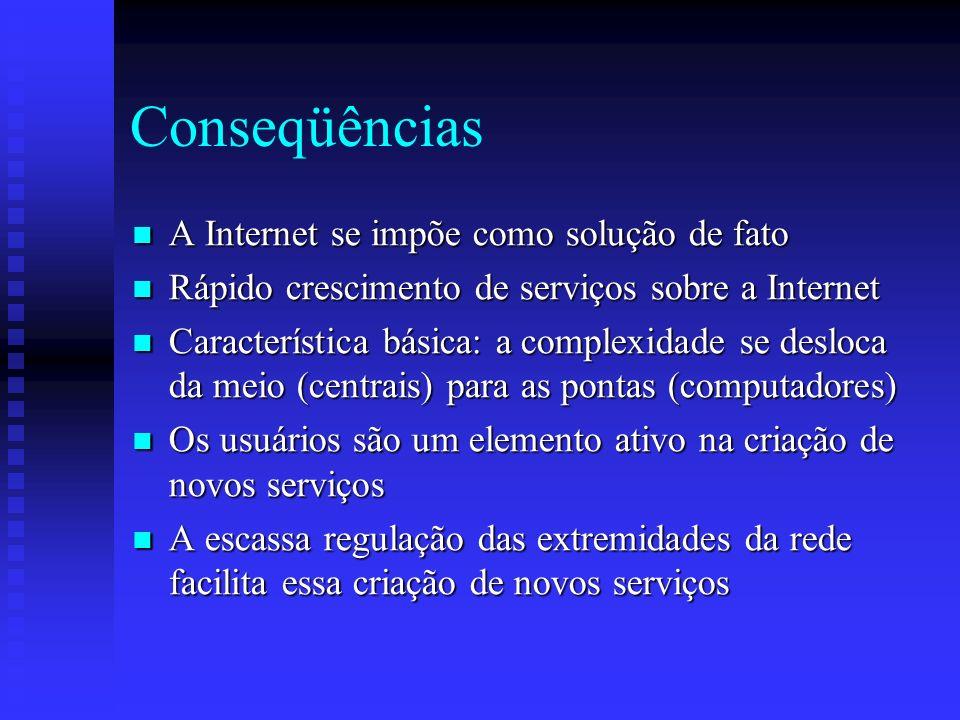 Conseqüências A Internet se impõe como solução de fato A Internet se impõe como solução de fato Rápido crescimento de serviços sobre a Internet Rápido