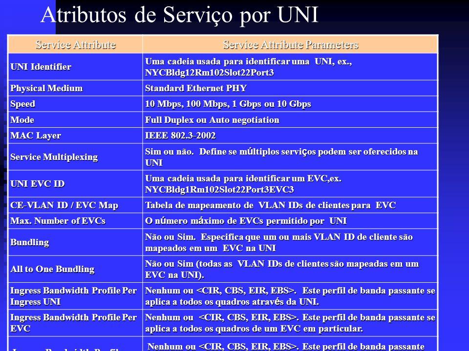 Atributos de Serviço por UNI Service Attribute Service Attribute Parameters UNI Identifier Uma cadeia usada para identificar uma UNI, ex., NYCBldg12Rm