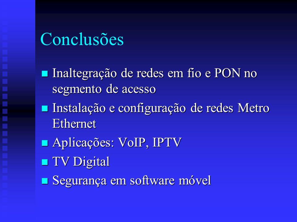Conclusões Inaltegração de redes em fio e PON no segmento de acesso Inaltegração de redes em fio e PON no segmento de acesso Instalação e configuração