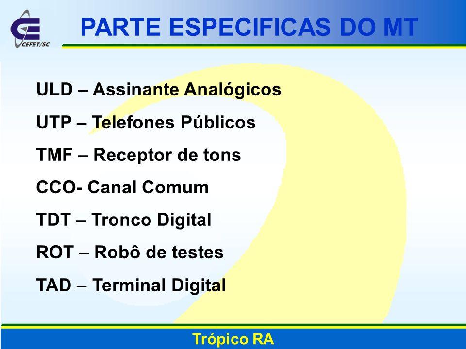 Trópico RA PARTE ESPECIFICAS DO MT ULD – Assinante Analógicos UTP – Telefones Públicos TMF – Receptor de tons CCO- Canal Comum TDT – Tronco Digital RO
