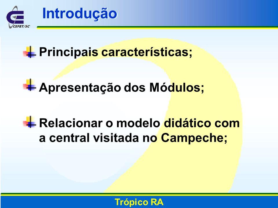 Introdução Principais características; Apresentação dos Módulos; Relacionar o modelo didático com a central visitada no Campeche; Trópico RA
