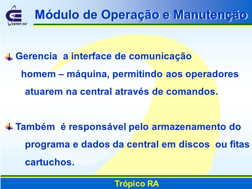 Módulo de Operação e Manutenção Gerencia a interface de comunicação homem – máquina, permitindo aos operadores atuarem na central através de comandos.