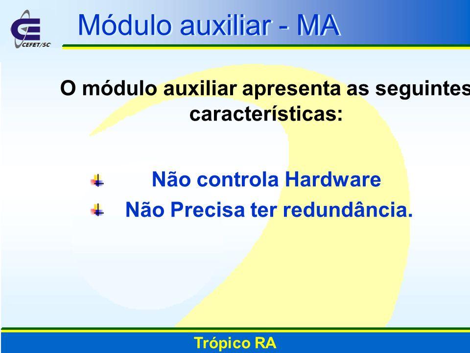 Módulo auxiliar - MA O módulo auxiliar apresenta as seguintes características: Não controla Hardware Não Precisa ter redundância. Trópico RA