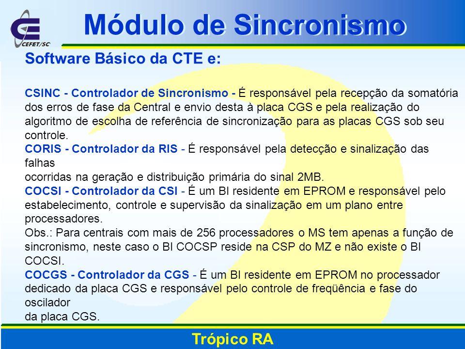 Software Básico da CTE e: CSINC - Controlador de Sincronismo - É responsável pela recepção da somatória dos erros de fase da Central e envio desta à p