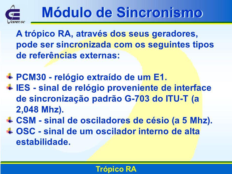 A trópico RA, através dos seus geradores, pode ser sincronizada com os seguintes tipos de referências externas: PCM30 - relógio extraído de um E1. IES
