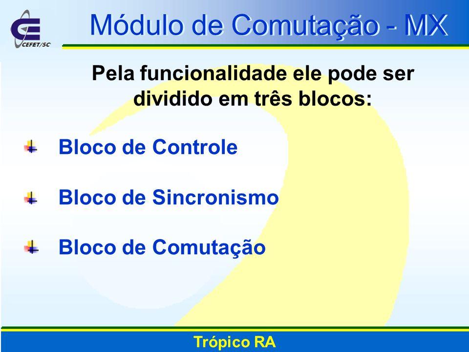 Módulo de Comutação - MX Pela funcionalidade ele pode ser dividido em três blocos: Trópico RA Bloco de Controle Bloco de Sincronismo Bloco de Comutaçã