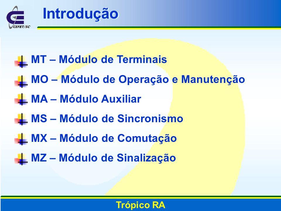 Introdução MT – Módulo de Terminais MO – Módulo de Operação e Manutenção MA – Módulo Auxiliar MS – Módulo de Sincronismo MX – Módulo de Comutação MZ –