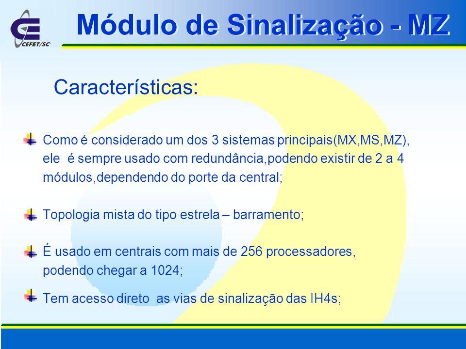 Módulo de Sinalização - MZ Características: Como é considerado um dos 3 sistemas principais(MX,MS,MZ), ele é sempre usado com redundância,podendo exis