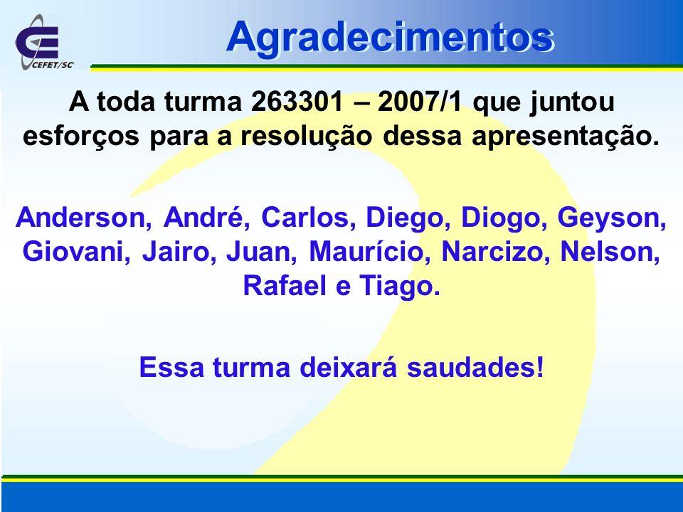 A toda turma 263301 – 2007/1 que juntou esforços para a resolução dessa apresentação. Anderson, André, Carlos, Diego, Diogo, Geyson, Giovani, Jairo, J