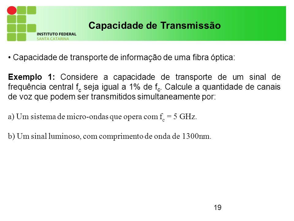 19 Capacidade de Transmissão Capacidade de transporte de informação de uma fibra óptica: Exemplo 1: Considere a capacidade de transporte de um sinal de frequência central f c seja igual a 1% de f c.