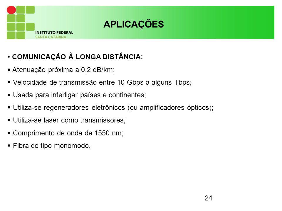 24 APLICAÇÕES COMUNICAÇÃO À LONGA DISTÂNCIA: Atenuação próxima a 0,2 dB/km; Velocidade de transmissão entre 10 Gbps a alguns Tbps; Usada para interlig