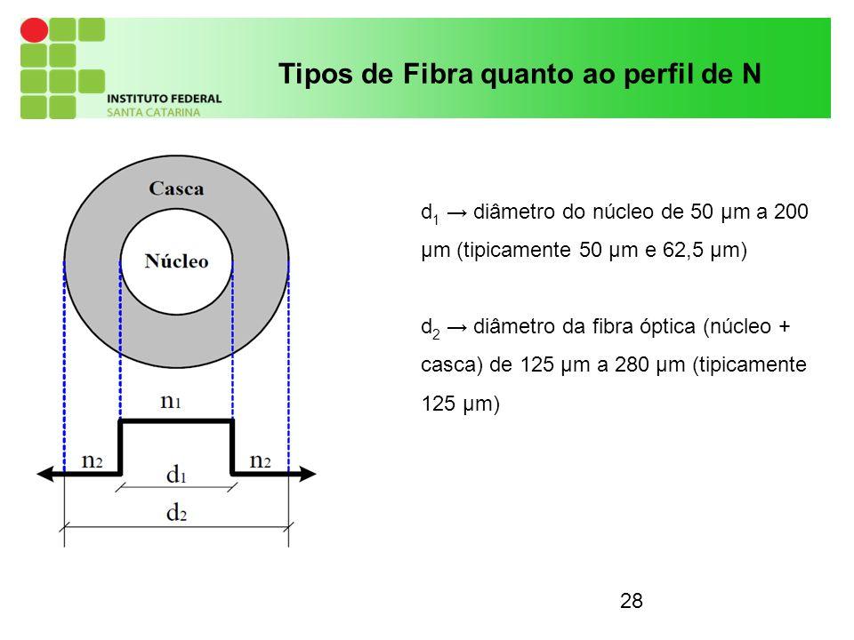 28 Tipos de Fibra quanto ao perfil de N d 1 diâmetro do núcleo de 50 µm a 200 µm (tipicamente 50 µm e 62,5 µm) d 2 diâmetro da fibra óptica (núcleo + casca) de 125 µm a 280 µm (tipicamente 125 µm)