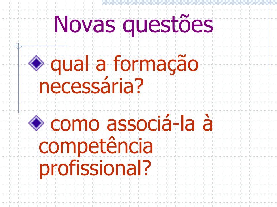 Novas questões qual a formação necessária? como associá-la à competência profissional?
