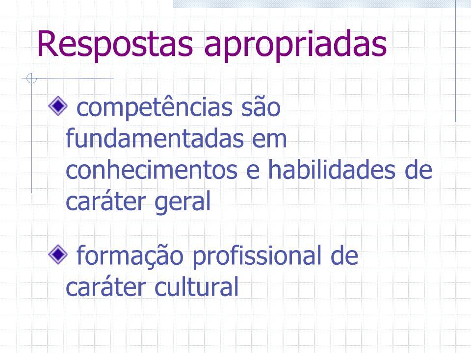 Respostas apropriadas competências são fundamentadas em conhecimentos e habilidades de caráter geral formação profissional de caráter cultural