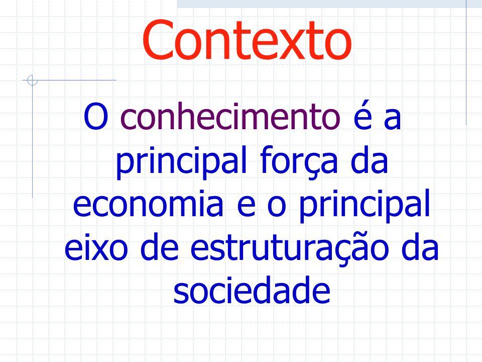 Contexto O conhecimento é a principal força da economia e o principal eixo de estruturação da sociedade