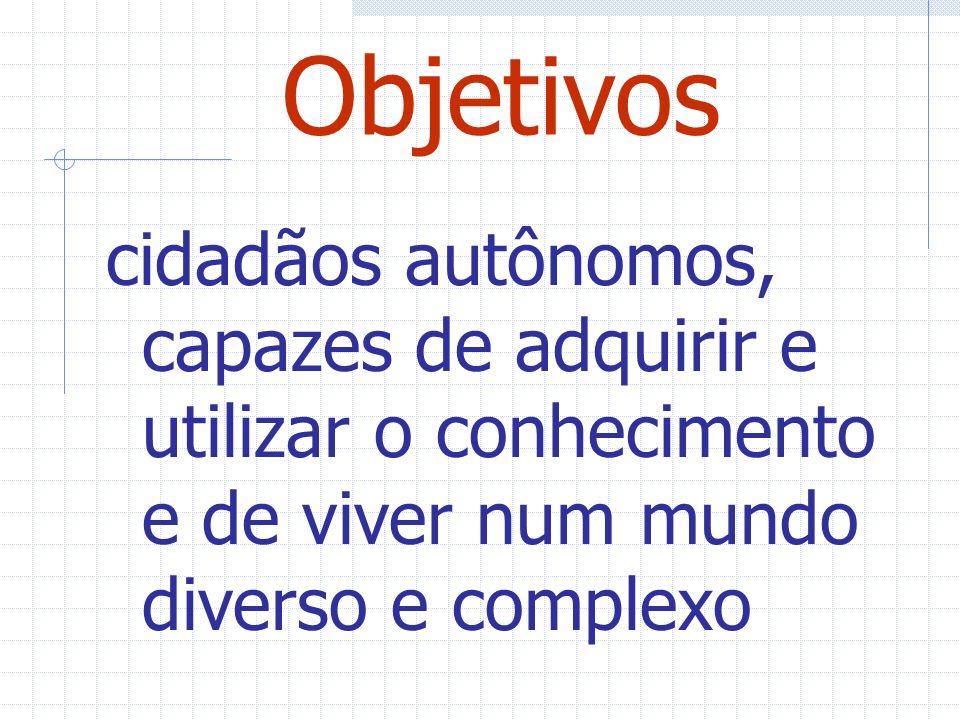 Objetivos cidadãos autônomos, capazes de adquirir e utilizar o conhecimento e de viver num mundo diverso e complexo