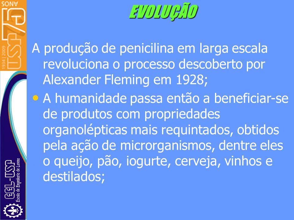 EVOLUÇÃO A produção de penicilina em larga escala revoluciona o processo descoberto por Alexander Fleming em 1928; A humanidade passa então a benefici